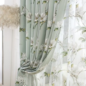 Morning Flower Mint Green Curtain 5