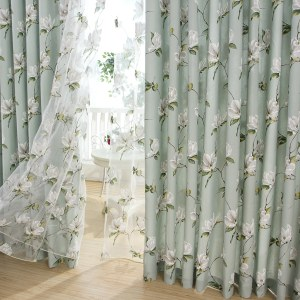 Morning Flower Mint Green Curtain 1