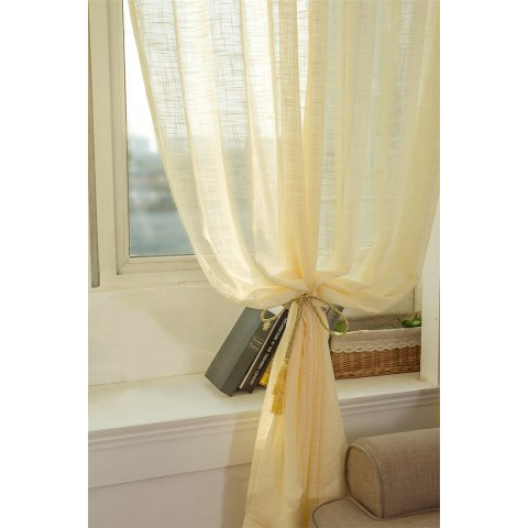 A Touch of Sunshine Yellow Peach Voile Curtain 3