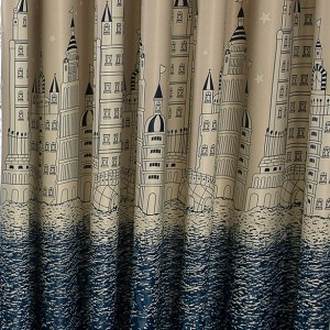 Waters Edge Cream and Blue Roman Blind 1