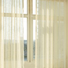 A Touch of Sunshine Yellow Peach Voile Curtain 2