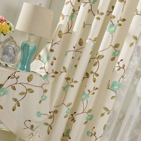 Floral Journey Sage Green Embroidered Curtain 1