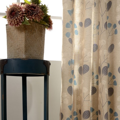 Block Leaf Floral Cream Curtain 5