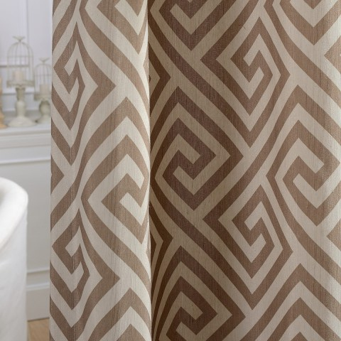 Greek Key Light Brown Curtain 2