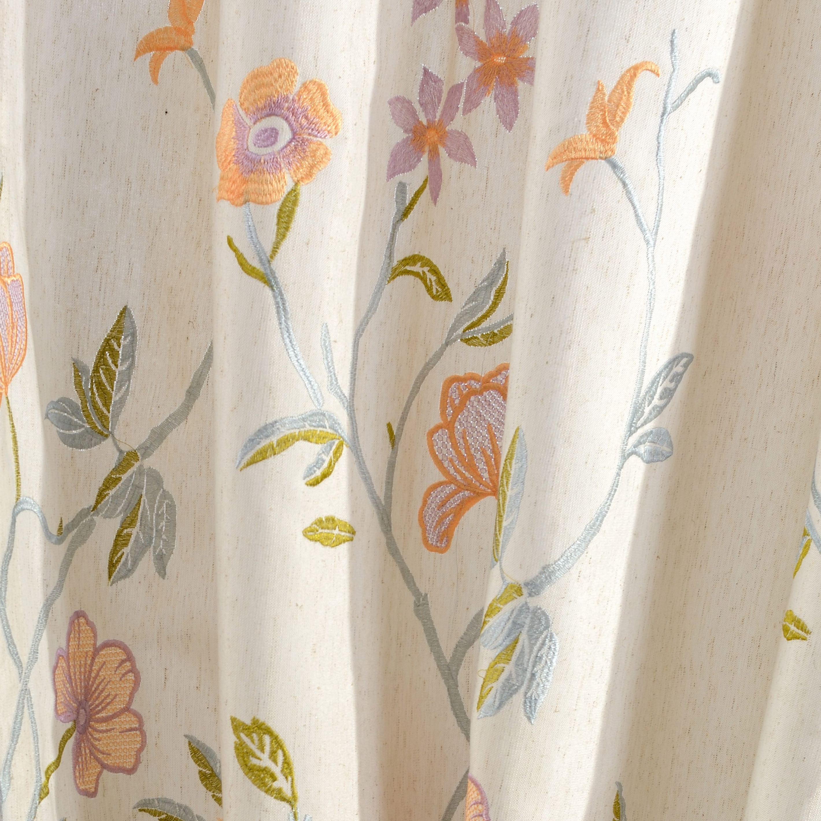 Fragrance Blue Branch Embroidered Curtain 1