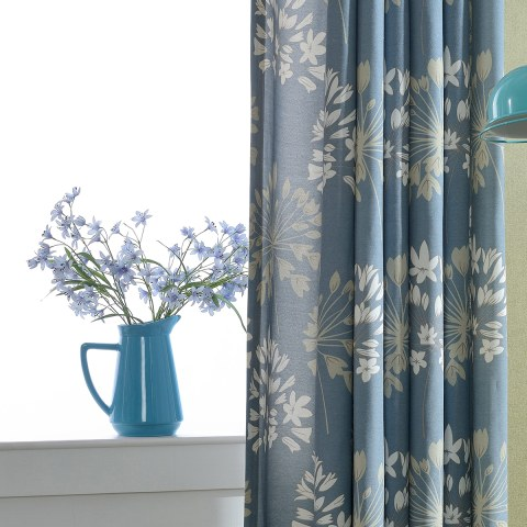 Breeze Powder Blue Floral Curtain 7