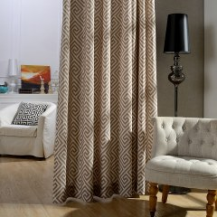 Greek Key Light Brown Curtain 1