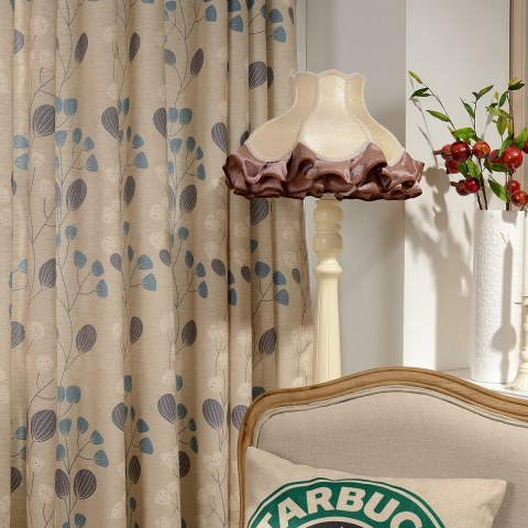 Block Leaf Floral Cream Curtain 6