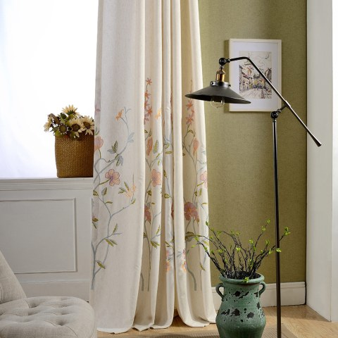 Fragrance Blue Branch Embroidered Curtain 6