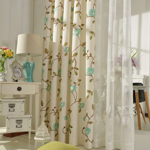 Floral Journey Sage Green Embroidered Curtain 4
