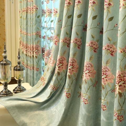 Peony Teal Embroidered Curtain 2