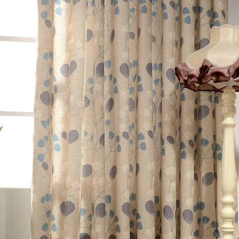 Block Leaf Floral Cream Curtain 7