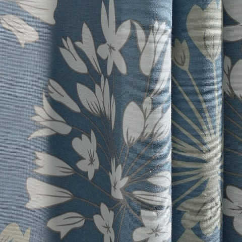 Breeze Powder Blue Floral Curtain 2