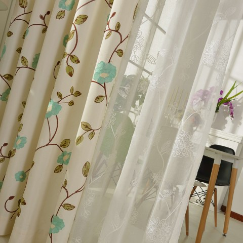 Floral Journey Sage Green Embroidered Curtain 3