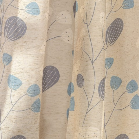 Block Leaf Floral Cream Curtain 8