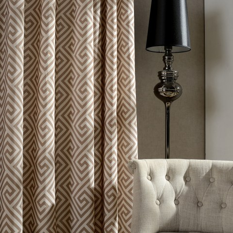 Greek Key Light Brown Curtain 4