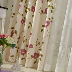 Floral Journey Pink Embroidered Curtain 1