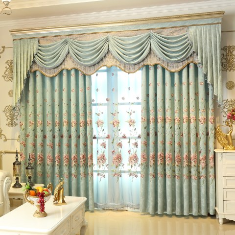 Peony Teal Embroidered Curtain 3