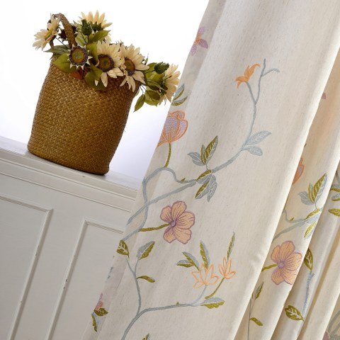 Fragrance Blue Branch Embroidered Curtain 3