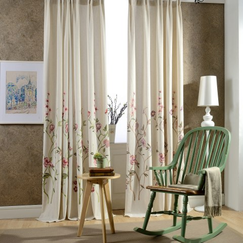 Fragrance Brown Branch Embroidered Curtain 8