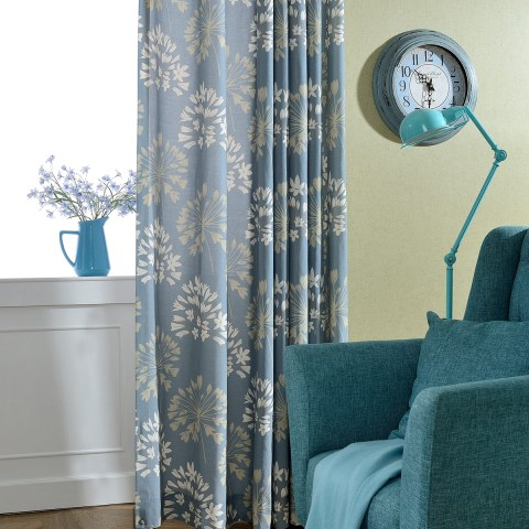 Breeze Powder Blue Floral Curtain 8