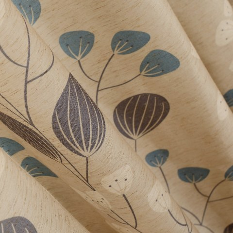 Block Leaf Floral Cream Curtain 2
