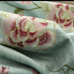 Peony Teal Embroidered Curtain 4