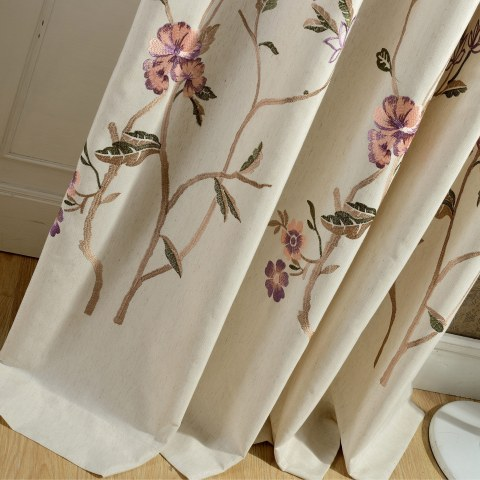 Fragrance Brown Branch Embroidered Curtain 1