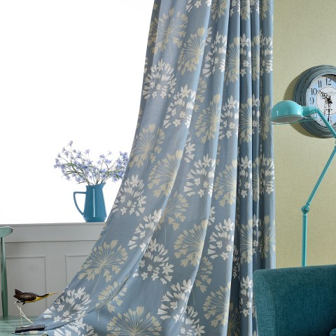 Breeze Powder Blue Floral Curtain 1