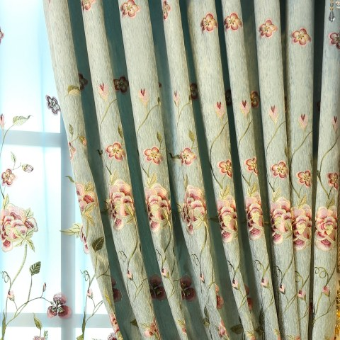 Peony Teal Embroidered Curtain 6