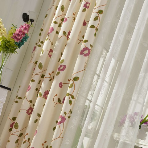 Floral Journey Pink Embroidered Curtain 7