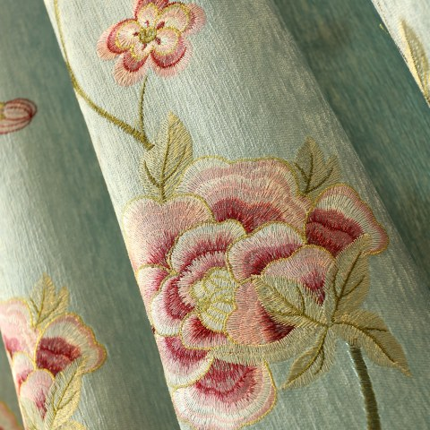 Peony Teal Embroidered Curtain 7