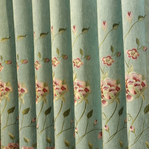 Peony Teal Embroidered Curtain 1