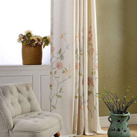Fragrance Green Branch Embroidered Curtain 7