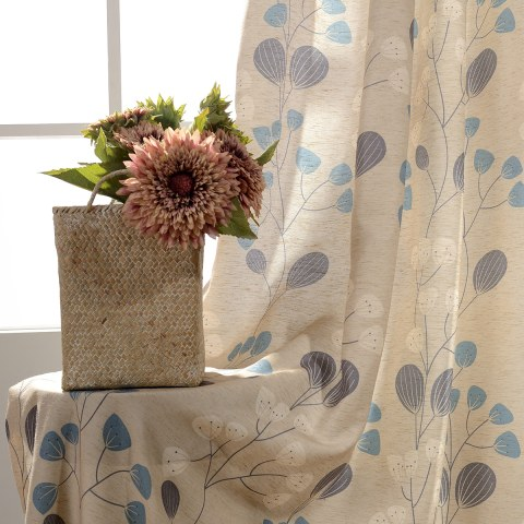 Block Leaf Floral Cream Curtain 1