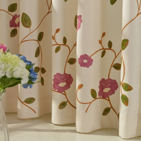 Floral Journey Pink Embroidered Curtain 2