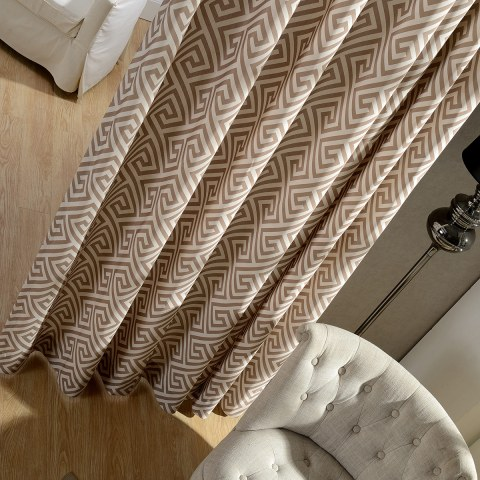 Greek Key Light Brown Curtain 3