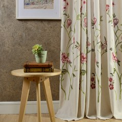 Fragrance Green Branch Embroidered Curtain 1