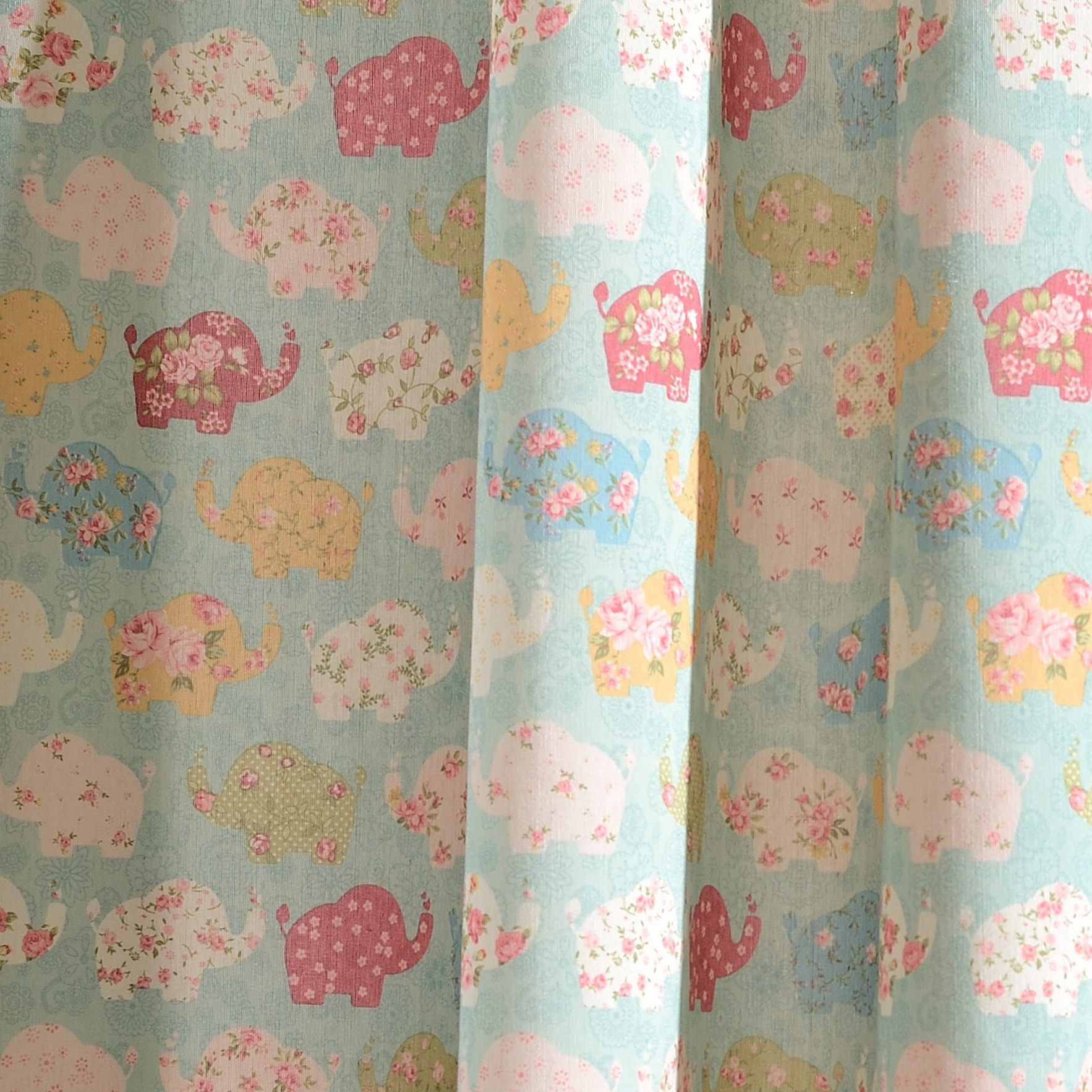 Baby Elephant Pink and Blue Curtain 1