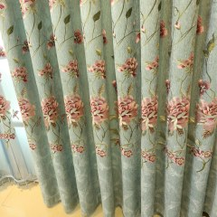 Peony Teal Embroidered Curtain 8