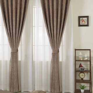 Luxury Light Brown Chenille Curtain 1