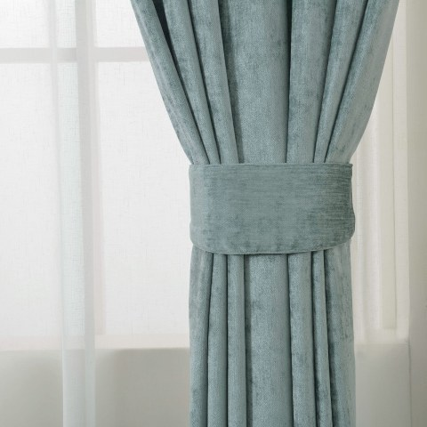 Luxury Duck Egg Sage Green Chenille Curtain 5