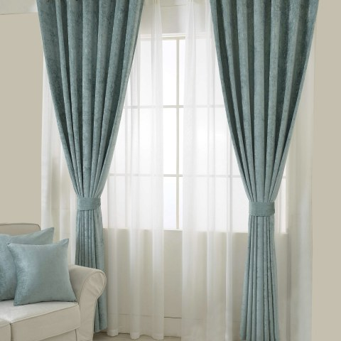 Luxury Duck Egg Sage Green Chenille Curtain 2