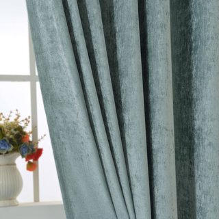 Luxury Duck Egg Sage Green Chenille Curtain 6