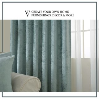 Luxury Duck Egg Sage Green Chenille Curtain 3