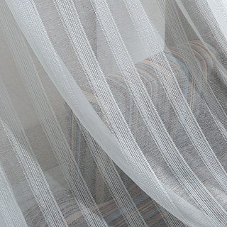 Sheer Curtain Silver Shimmery Striped White Voile Sheer Curtain 1