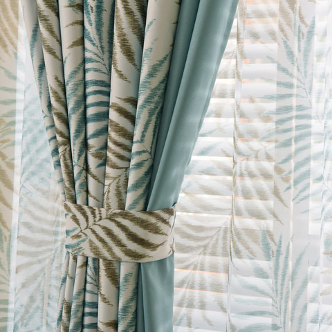 Palm Tree Leaves Blue Curtain with Blue Border 4