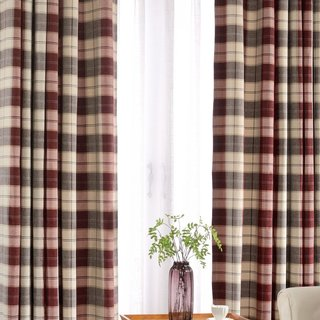 Cosy Plaid Check Burgundy Chenille Curtain 1