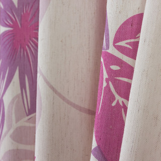 Tropical Leaves Purple Pink Curtain 6