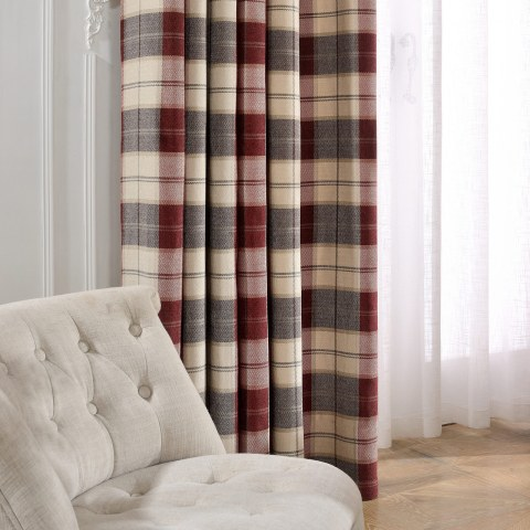 Cosy Plaid Check Burgundy Chenille Curtain 2